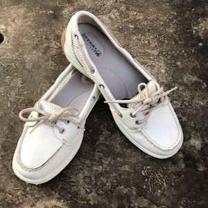 Sperry White Leather w/ mesh insets Boat Shoes 7.5